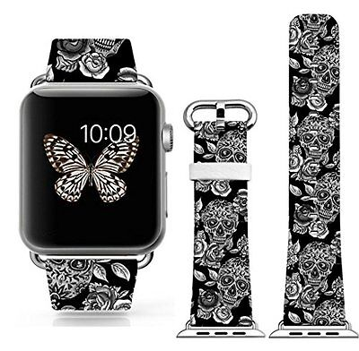 Apple Watch iwatch Band Strap 38mm Skull Flower Black Leather High Quality