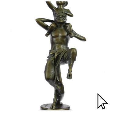 Signed Bergman Satyr With His Child Dancing Bronze Statue Figurine Art A
