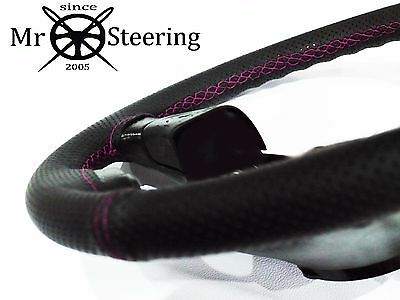 For Vauxhall Vectra C Perforated Leather Steering Wheel Cover Hot Pink Double St