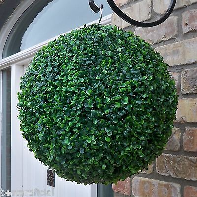 Best Artificial 38cm Green Boxwood Buxus Topiary Ball Hanging Grass Basket New