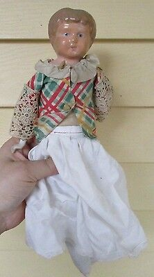"Antique 13""  German Tin Metal Shoulder Head & leather body Doll"