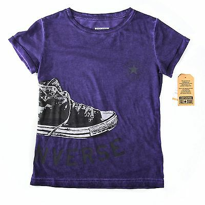 New Converse Girls Washed Purple T-Shirt Age 10-12 Years