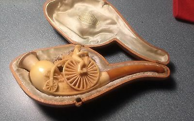 """Antique Meerschaum. Peny Farthing Bicycle Museum Quality Pipe  Charoot & case 6"""""""