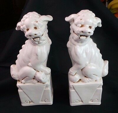 Pair Of White Ceramic Chinese Foo Dogs Hand Made From Italy