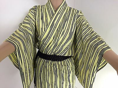 Authentic Japanese yellow kimono for women, Japan import, good cond. (G993)