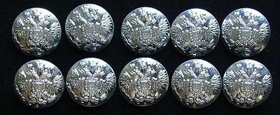 10 Big Russian Official Uniform Buttons Imperial Double-Headed Eagle Silver