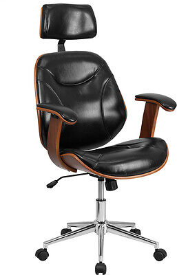 Unique High Back Modern Black Leather Wood Executive Office Chair