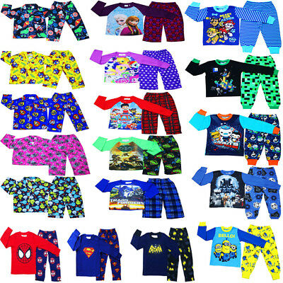 New Sz 1-16 Kids Pyjamas Winter Boys Girl Sleepwear Pokemon Go Paw Nighties Tee