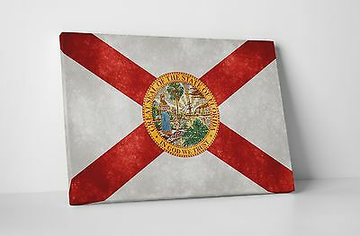 Vintage Florida State Flag Gallery Wrapped Canvas Wall Art