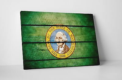 Vintage Washington State Flag Gallery Wrapped Canvas Wall Art