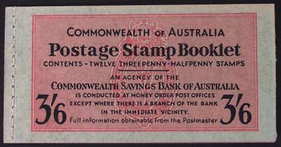 Australia SG SB30/CW B5 1952 booklet 3/6d vermilion and deep blue on green cover