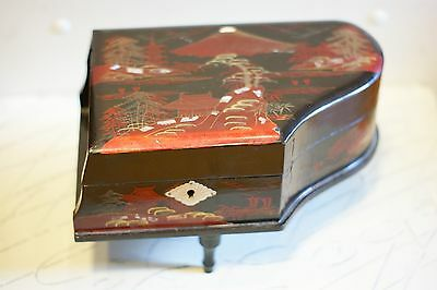 Grand Piano Shaped Music Jewelry Box - Japanese Laquer Design - Abalone Inlay