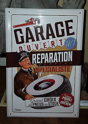 """plaque relief style emaillée""""garage reparation express""""30*20 cm natives creation"""