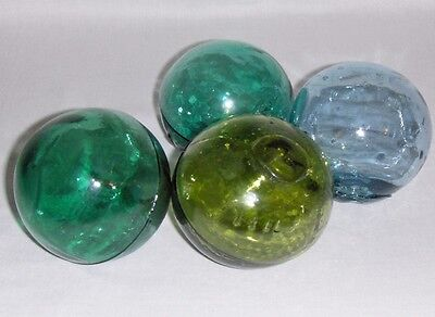 VINTAGE GLASS FISHING FLOATS Lot 4 Blue Aqua Green Japanese
