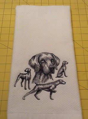 Weimaraner Collage Sketch Williams Sonoma Embroidered Kitchen Hand Towel, XL