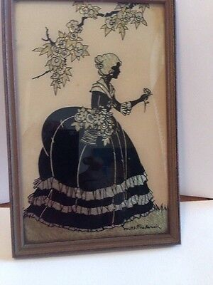 Reverse Painting Smith Frederick Old Fashioned Girl Garden Silhouette.