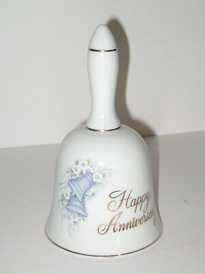 Ceramic Happy Anniversary Bell by Papel White with Bells/Flowers & Ribbons