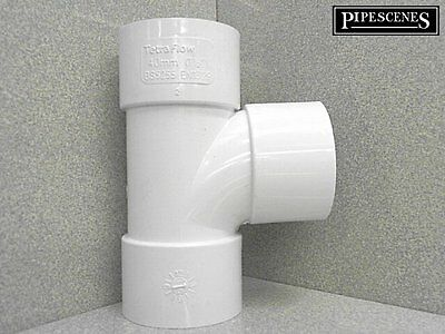 WHITE 40mm 43mm Solvent Weld Glue Waste Pipe Swept Equal Tee Branch 92.5°