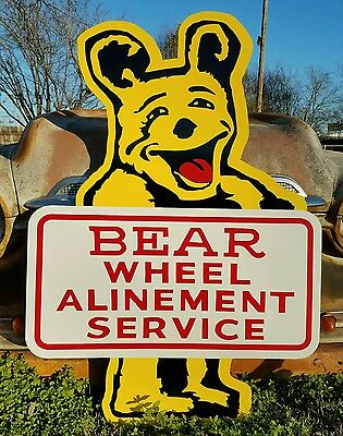 Antique Vintage Old Style Hot Rod Bear Wheel Alignment Sign 47inches!