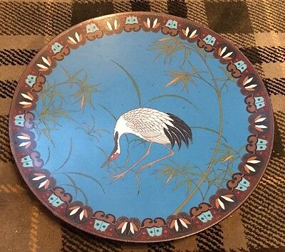 Stunning Large Cloisonne Charger With Crane Design