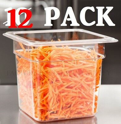 """10 PACK 1/6 Size Clear Plastic Steam Prep Table Food Pan 6"""" Deep Polycarbonate"""