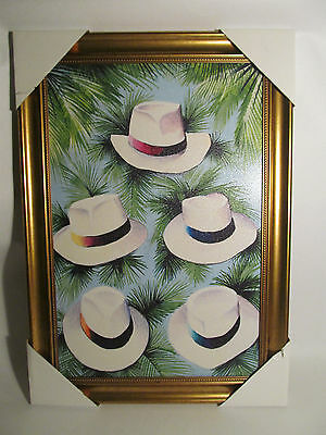 """Framed Wall Art Palm Branches and Fedora Hats Gold Color Frame (27.5"""" x 19.5"""")"""