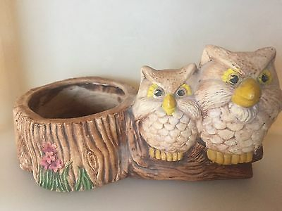 Vintage Ceramic Planter Two Owls Sitting On Log W/Flowers Small / Hand Painted