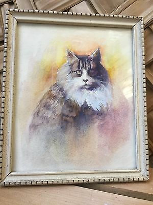 "Small Framed Kitty Picture 6.5"" X 5.5"" Watercolor Print Card"