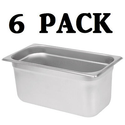 "6 PACK 1/3 Size Stainless Steel Steam Prep Table Pan 12 3/4"" x 7"" x 6"" Deep NEW"