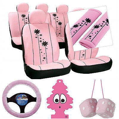 Sumex Seat Covers Harness Pads Steering Wheel & Dice Pink Girls Car Interior Set