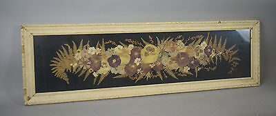 "Large Antique Victorian Pressed Flowers Framed Art 37"" x 11"""