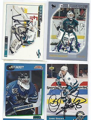 1991 Score #642 Jeff Hackett San Jose Sharks Autographed Hockey Card