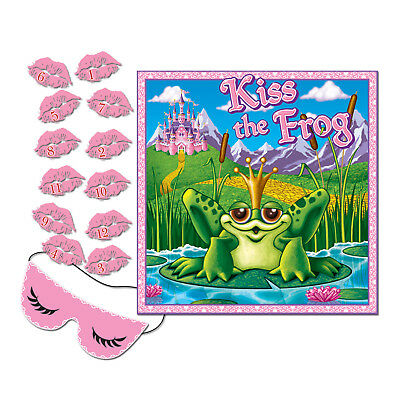 PIN THE KISS ON THE FROG Blindfold Game Princess Birthday Party