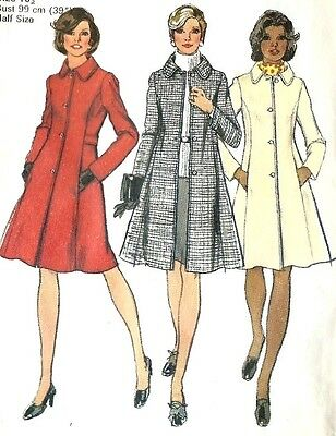 "Vintage 1970's Sewing Pattern Simplicity 5928 PRINCESS COAT Bust 37-39"" UNCUT"