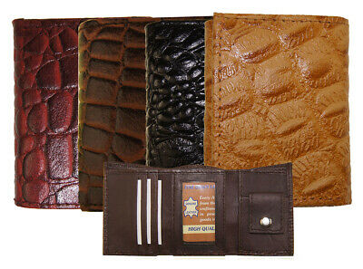 "Kids Mini Leather Alligator Imprint Tri Fold Wallet 3"" x 2.5"" New Chrismas Gift"