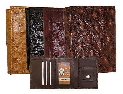 "Kids Leather Ostrich imprint Trifold Mini Boys Wallet 3"" x 2.5"" Christmas Gift"