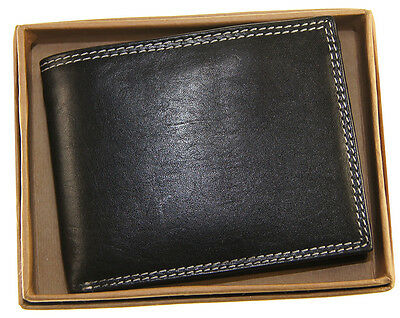 AG Wallets Mens Multi Card Premium Cow Leather Passcase Billfold Wallet Black