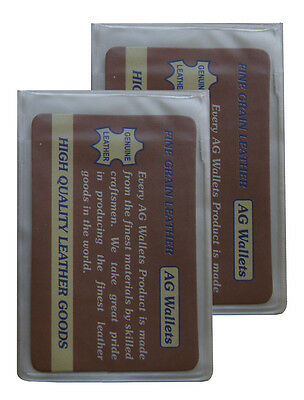 AG Wallets Set of 2 Bifold 6 Page Clear Plastic Wallet Insert Card Holder