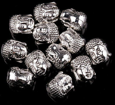 Tibetan Silver Buddha Head Spacer 10x8mm Beads for Jewellery Making 20 Pcs