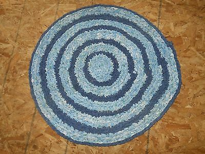 "Crochet Braided Rag Rug Hand Made Country Round 34"" Blues Denim Cottage Cabin"