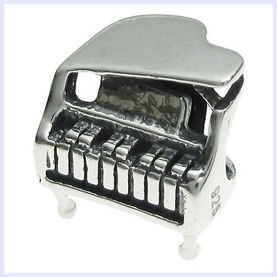 925 Sterling Silver Baby Grand Piano Music Note Bead for European Charm Bracelet