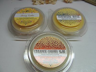 Bath and Body Works 3 Fragrance Wax Melts Merry Cookie, Cinnamon, Champagne