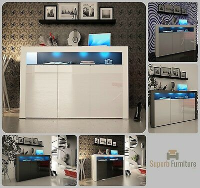 NEW 2017! Superb Sideboard Cupboard Cabinet 130cm + 3 Doors + Gloss + LED