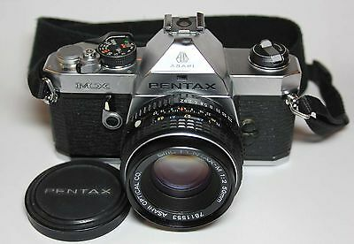 Vintage PENTAX MX camera with SMC Pentax-M 1:2 50mm lens