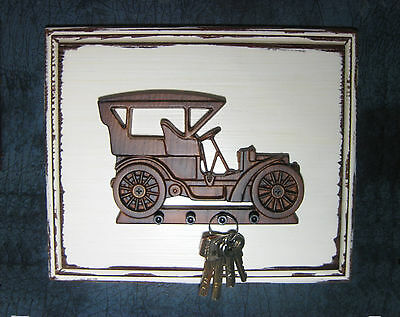 White antique style wall plaque old car vintage wooden retro ford auto keyholder