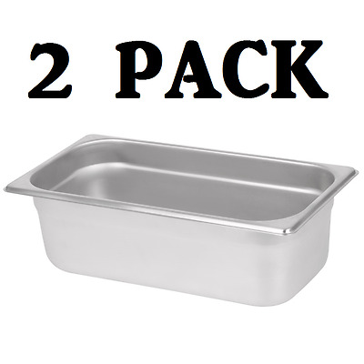 "2 PACK 1/3 Size Stainless Steel Steam Prep Table Commercial Food Pan 4"" Deep"