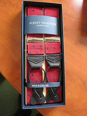 Albert Thurston Leather End Braces Dark Red/royal Spot