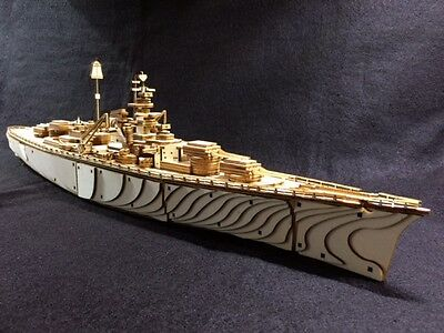 Laser Cut Wooden WW2 Bismarck Battleship 3D Model/Puzzle Kit