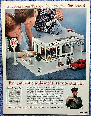 1961 Texaco Scale Model Service Station Gift Boy Girl Playing ad