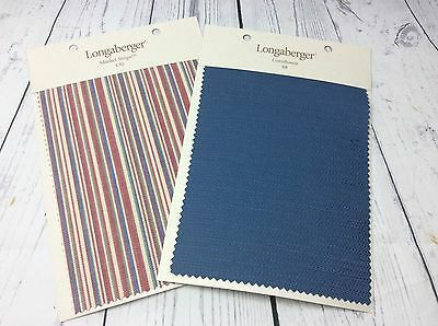 Longaberger Sample Fabric Swatch Cards-Market Stripe & Cornflower